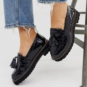 ASOS chunky fringed leather loafers